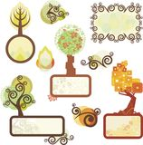 Tree Panels. And various design elements Stock Illustration
