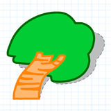 Tree paper sticker. On a note background Royalty Free Stock Photos
