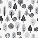 Tree pattern. Seamless retro different tree tops and trunks background in vector Stock Photo