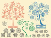 The tree patterns with the different elements vector illustration. Aztecs Mayan ancient civilizations ornaments. Royalty Free Stock Photos