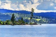 Tree Peninsula Lake Coeur d` Alene Idaho. Green Tree Peninsula Blue Lake Coeur d` Alene Idaho royalty free stock image