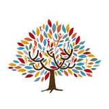 Tree with people for family or community concept. Family tree symbol with people and color leaves. Concept illustration for community help, environment project vector illustration