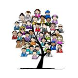 Tree with people icons for your design. This file is EPS10 vector and it includes transparency effects Stock Photo