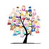 Tree with people icons for your design Stock Image