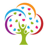 Tree people love hearts logo stock illustration