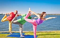 Tree people practice Yoga asana at lakeside. Yoga concept. Stock Image