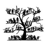 Tree of people, sketch for your design Stock Photo