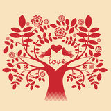 Tree with pigeons and the love message Stock Photo