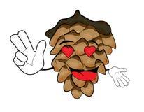 Tree pine cone cartoon character Stock Photo
