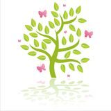 tree with pink butterflies Stock Photos