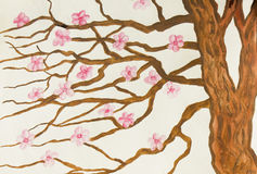 Tree with pink flowers, painting royalty free stock photo