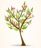 Tree with pink hearts. Spring tree with green leaves and pink hearts Royalty Free Stock Image