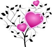 Tree with pink hearts Stock Images