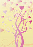 Tree with pink hearts on tips of branches. Illustration of pink tree on a cream background with pink hearts on the tips of its branches ideal for Saint Valentine Royalty Free Illustration