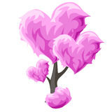Tree with pink hearts. Vector element decor Royalty Free Stock Photos