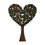 Tree plant with heart ecological icon Royalty Free Stock Photo