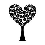 Tree plant with heart ecological icon Stock Image