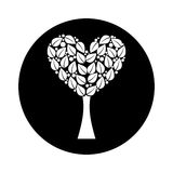 Tree plant with heart ecological icon Stock Photos