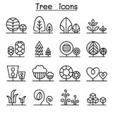 Tree & Plant icon set in thin line style Stock Images