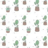 Tree and plants in a pot semlless pattern clip art, illustration, drawing on white background. Tree and plants in a pot semlless pattern clip art, illustration vector illustration