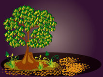 Tree, plants and stones. 1. Tree with yellow and green leaves. Horizontal  illustration Royalty Free Stock Photography