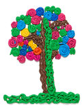 Tree from plasticine, kids art object Royalty Free Stock Images