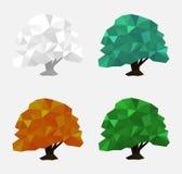 Tree in polygonal style. Season: winter, spring, summer, autumn stock illustration