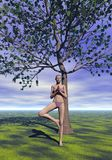 Tree pose, vrkasana - 3D render Stock Image