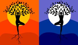 Tree pose yoga. Silhouette of man in tree pose in art processing on the background of the day and night royalty free illustration