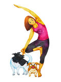 Tree Pose Yoga, Vriksasana position posture, hand drawn watercolor painting Royalty Free Stock Images