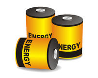 Tree power vector batteries. White isolated tree power vector batteries Stock Image
