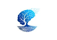 Tree psychology logo. An illustration represent tree psychology logo isolated in white background royalty free illustration