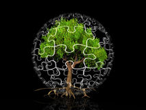 A tree in a puzzle bubble Royalty Free Stock Images