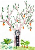 Tree with rabbit in a hollow. childs drawing. Royalty Free Stock Photography