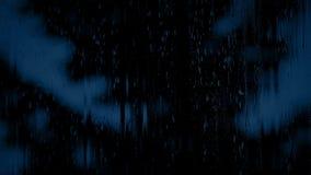 Tree Through Rainy Window At Night. Large tree in heavy rainfall seen through window stock footage