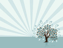 Tree with Rays at Spring Time. Single reflected tree in a windy spring day. No raster effects used. Download the .eps file vector illustration