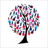 Tree with Realistic Nail Polish Vector Stock Photography