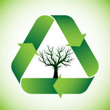 Tree in recycle symbol. Bald tree in green recycle symbol stock illustration