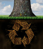 Tree Recycle Symbol. Concept as underground roots shaped as arrows from the recycling icon as a world environmental and conservation metaphor for clean global Stock Images