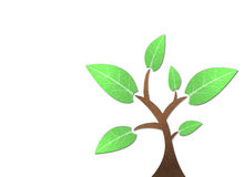Tree recycled paper craft stick. On white background Stock Illustration
