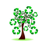 Tree with recycling icon Royalty Free Stock Photos