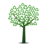 Tree with recycling symbols. Stock Photography