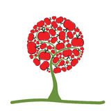 Tree with red apple illustration Royalty Free Stock Images