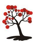Tree with red fruits. Symbolic picture, drawing. Vector graphics. Motifs of calligraphy Stock Image