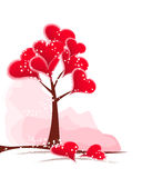 Tree red hearts. Abstract tree with red hearts. Valentine decorations Stock Photography