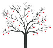 Tree of red Hearts hanging Stock Image