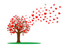 Tree and red hearts royalty free illustration