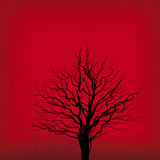 Tree on red (vector). Illustration of tree silhouette on red background (vector stock illustration