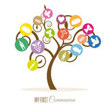 Tree religious icons. Communion invitation. Tree religious icons Royalty Free Stock Photo