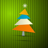 Tree on Retro Green Background Royalty Free Stock Photography